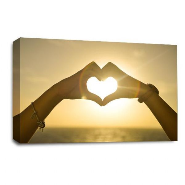 Sunset Love Heart Canvas Wall Art Picture Orange Gold Print